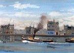 Tugboat River Seine 1978 18x25 Original Painting - Michel Delacroix