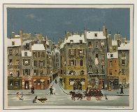 French Winter City Scene Limited Edition Print by Michel Delacroix - 1