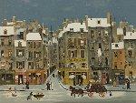 French Winter City Scene Limited Edition Print - Michel Delacroix