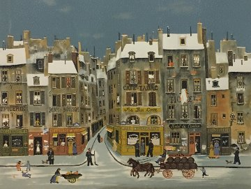 French Winter City Scene Limited Edition Print by Michel Delacroix