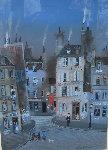 Hotel D' Cent Gouache Original 1983 30x30 Watercolor - Michel Delacroix