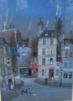 Hotel D\' Cent Gouache Original 1983 30x30 Watercolor - Michel Delacroix