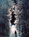 Le Voyageur 2004 21x16 Original Painting - Michel Delacroix