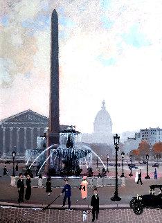 Place De La Concord (Esquisse) 1999 17x15 Original Painting - Michel Delacroix
