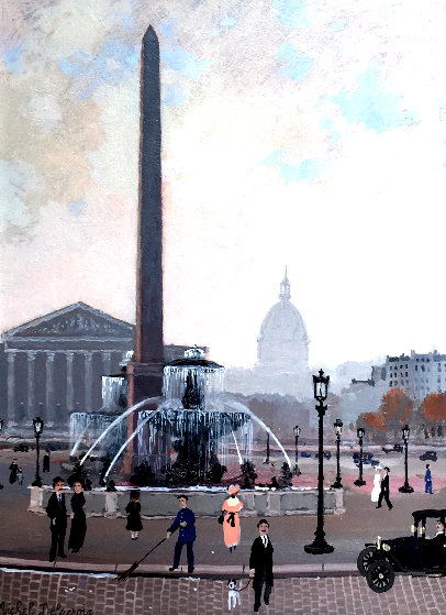 Place De La Concord (Esquisse) 1999 17x15 Original Painting by Michel Delacroix