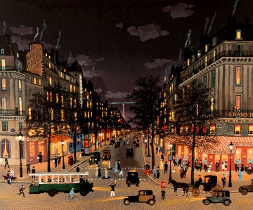 Les Grands Boulevards La Nuit 2001 Limited Edition Print - Michel Delacroix
