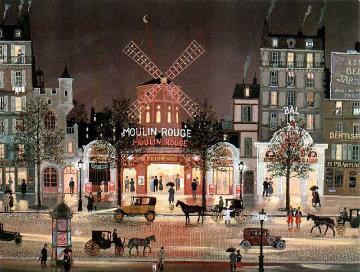 Boulevard Lights - Le Moulin Rouge Sous La Pluie 2001 Limited Edition Print - Michel Delacroix