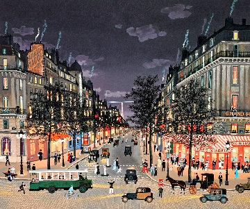 Les Grands Boulevards La Nuit 2001 Limited Edition Print - Michel Delacroix