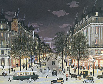 Les Grands Boulevards La Nuit, Paris 2001 Limited Edition Print by Michel Delacroix
