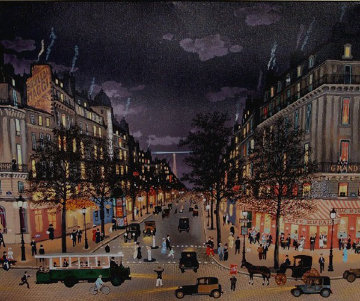 Ges Grands Boulevards La Nuit 2001 Limited Edition Print - Michel Delacroix