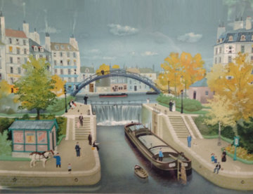 Canal Street St. Martin, Paris France Limited Edition Print by Michel Delacroix