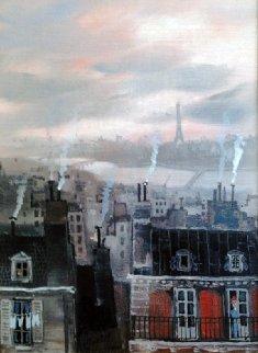 Vue De Paris Depruis Les Rauteurs De Pany 1990 18x16 Original Painting - Michel Delacroix