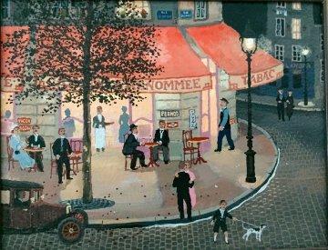 Cafe De La Renommee 2004 15x17 Original Painting - Michel Delacroix