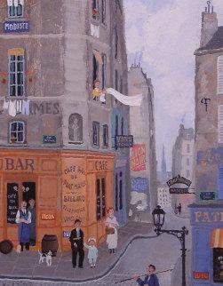 Le Bar Du Pont Marie 1999 13x15 Original Painting - Michel Delacroix