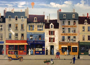 Paris Street Scene AP 1983 Limited Edition Print by Michel Delacroix