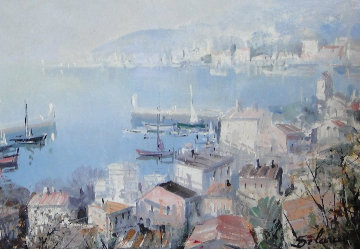 Port De Sciene 1950 22x25 Original Painting - Lucien DeLaRue