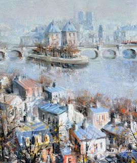 l'Ete De La Cite' Paris  32x27 Original Painting by Lucien DeLaRue