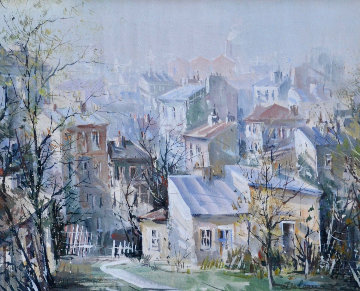 Belleville, Paris 25x29 Original Painting - Lucien DeLaRue
