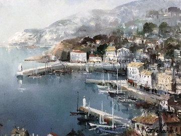 Port De Nice 1983 19x23 Original Painting - Lucien DeLaRue