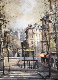 Montmartre Street Scene 1974 28x22 Original Painting - Lucien DeLaRue