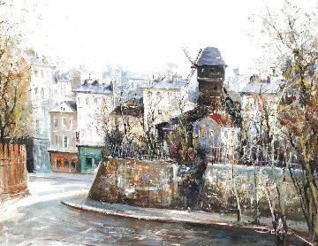 Montmartre Riviera 1944 44x36 Super Huge Original Painting - Lucien DeLaRue