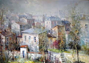 Les Toites De Montemarte (the Rooftops of Montmarte) 38x60 Original Painting - Lucien DeLaRue