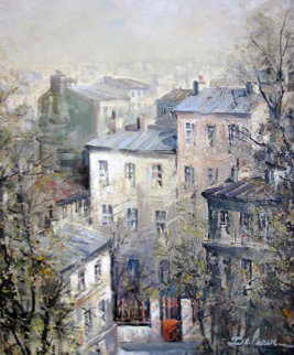 Les Taites De Montmartre 24x20 Original Painting - Lucien DeLaRue