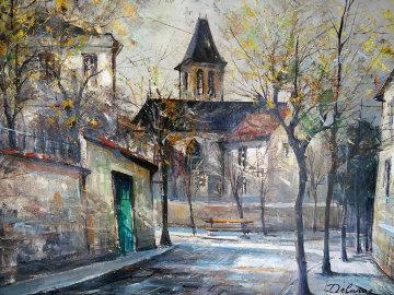Paris Church 26x29 Original Painting by Lucien DeLaRue
