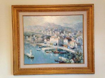Port De Nice (Cote D'Azur) 33x39 Original Painting - Lucien DeLaRue