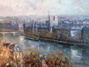 Ne a Paris 1970 26x32 Original Painting - Lucien DeLaRue