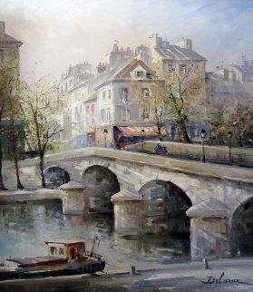 La Port Notre Dame 1960 49x43 Original Painting - Lucien DeLaRue