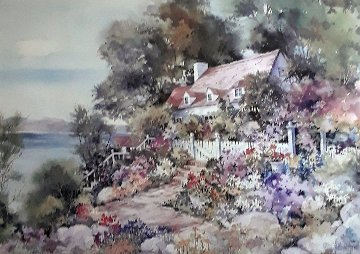 Lakevilla Watercolor 1970 24x36 Watercolor - Mary DeLoyht Arendt