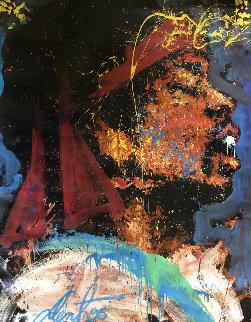 Jimi Hendrix 1995 67x53 Original Painting - Denny Dent