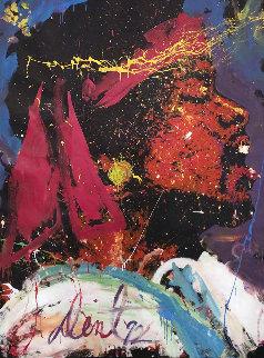Jimi Hendrix 1992 76x59 Original Painting - Denny Dent