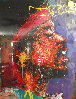Jimi Hendrix 1992 72x58 Super Huge Original Painting - Denny Dent