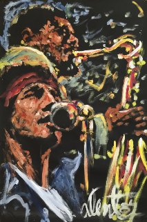Bruce Springsteen With Clarence Clemons 1987 82x53 Original Painting by Denny Dent