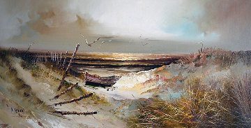 Untitled Painting 1978 29x53 Original Painting - Patrick Denoun