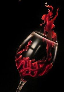 Reach of Wine Red  Unique 2011 18x24 Original Painting - Chris DeRubeis