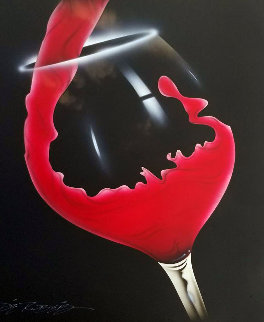 Red Pour 2012 24x18 Original Painting - Chris DeRubeis