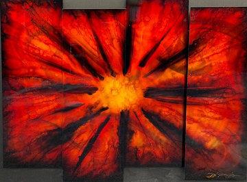 Red Burst 2012 38x45 Original Painting - Chris DeRubeis