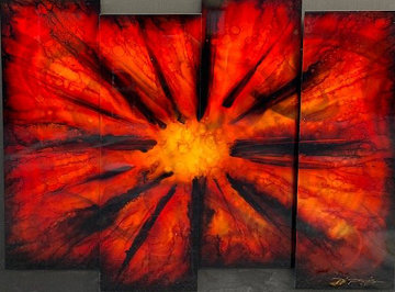 Red Burst 2012 38x45 Huge Original Painting - Chris DeRubeis