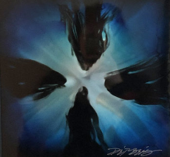 Mini Burst 2015 Blue 20x20 Original Painting by Chris DeRubeis