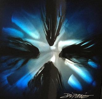 Mini Burst (Blue) 2015 20x20 Original Painting - Chris DeRubeis