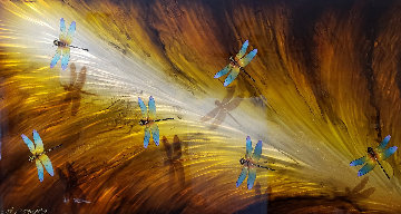 Dragonflies on Diamond Dust 2017 24x48 Original Painting - Chris DeRubeis