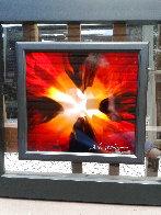 Mini Burst Red 2015 Unique 21x22  Original Painting by Chris DeRubeis - 1