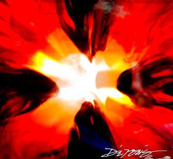 Mini Burst Red 2015 Unique 21x22  Original Painting - Chris DeRubeis