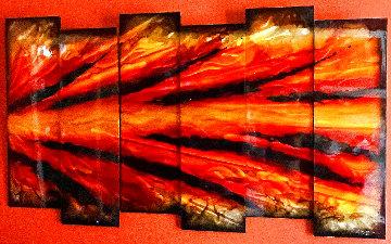 Red Shock Wave 2012  38x67 - 6 Panels Huge Original Painting - Chris DeRubeis