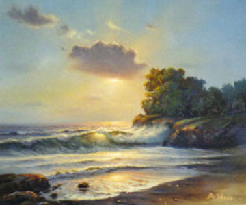 Untitled Seascape 1976 23x27 Original Painting - William DeShazo