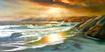 Untitled Seascape 32x55 Huge Original Painting - William DeShazo