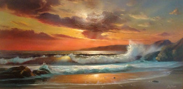 Sunset 1972 Oil on Wood 18x36 Original Painting - William DeShazo